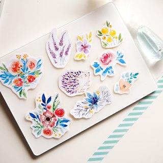 Watercolour Flower Planner Stickers Includes Flower Hedgehog - Serenity (WT-007)