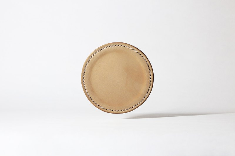 #005 Leather coaster (three in).