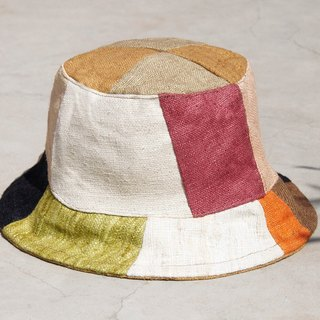 Limited amount of a touch of forest wind splicing hand-woven cotton hat / fisherman hat / sun hat / patch cap - child touch hit color stitching design wind