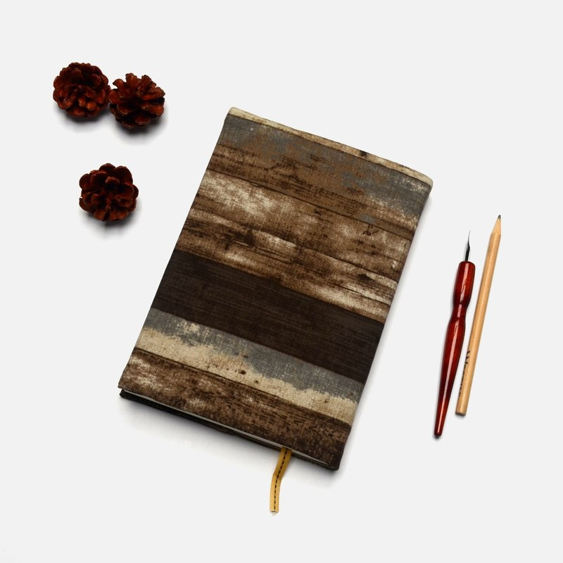 Retro wood pattern book cover with bookmark handmade Print Cotton Fabric canvas