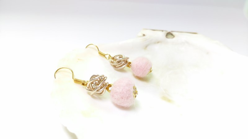 Pink Lady Felt Earrings (Clip-On Available)