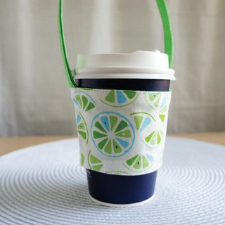 Lovely [Japanese cloth] lemon slice drink cup bag, bag, green cup, white