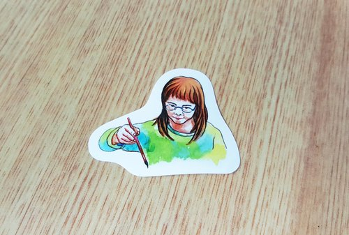 "Bonnie painted watercolor rendering Stickers ""hot girl wrote"""