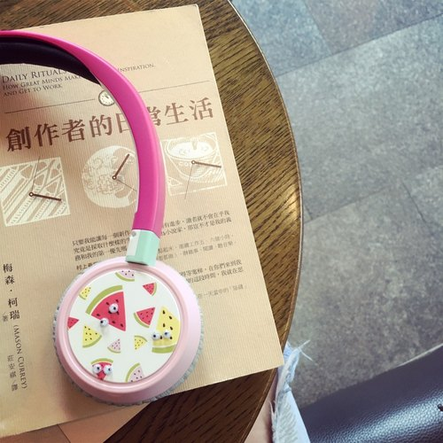 """Bright"" Customized Bluetooth Earphones Summer Collection ""I'm a Watermelon, Not a Big One."" Limited Printing (No Eyes)"