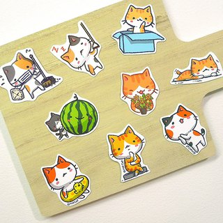 Secret cat daily waterproof sticker set