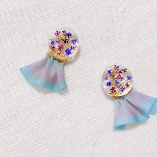 Floral garden hand made dry flower embossed temperament two wearing ear / ear clip