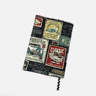 Antique car book cover with bookmark handmade Print Cotton Fabric canvas
