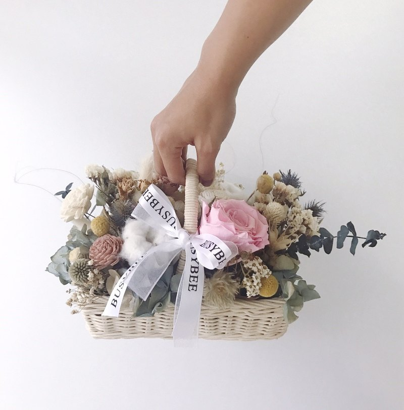 {BUSYBEE} Dry flowers Eternal flowers basket Congratulations on the basket opening gift