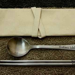 All handmade stainless steel cutlery sets (customizable text) (tableware sets + big spoon + chopsticks)