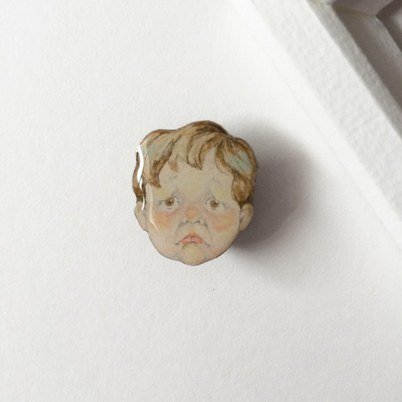 # 10 Little Boy SAD: handmade brooch