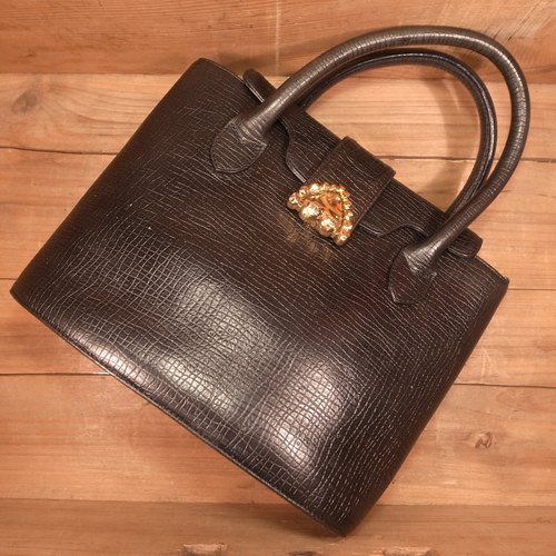 [Bones] ungaro black gold buckle handbag VINTAGE