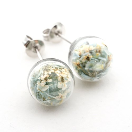 OMYWAY Handmade Dried Flower - Glass Globe - Earrings - Drop Earrings - Drop Cli