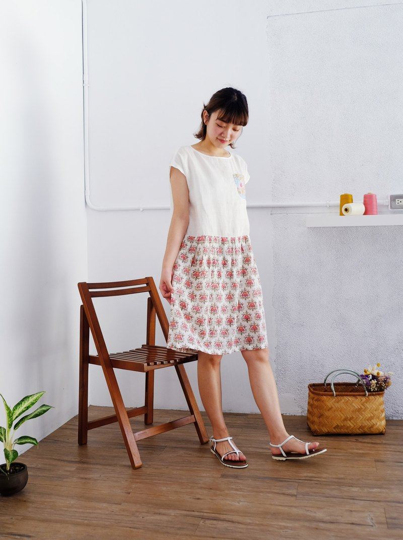 Woodcut printed dress - linen, Indian cotton, pink