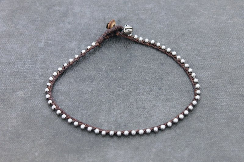 Beaded Anklet Woven Braided Simple Silver Brown