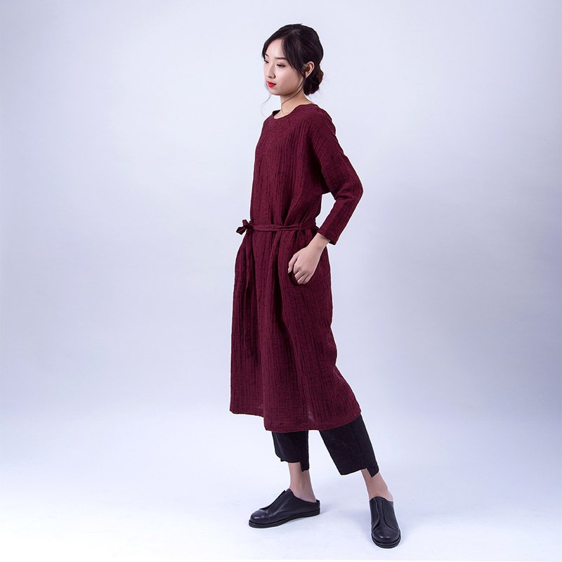 Burgundy casual robe dress