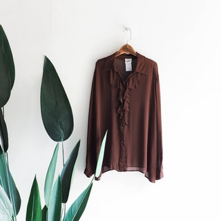 Heshui Mountain - Fukuoka Red Coffee Chest Prefix Youth Journal Soft Antique Silk Spinning Shirt Shirt shirt oversize vintage