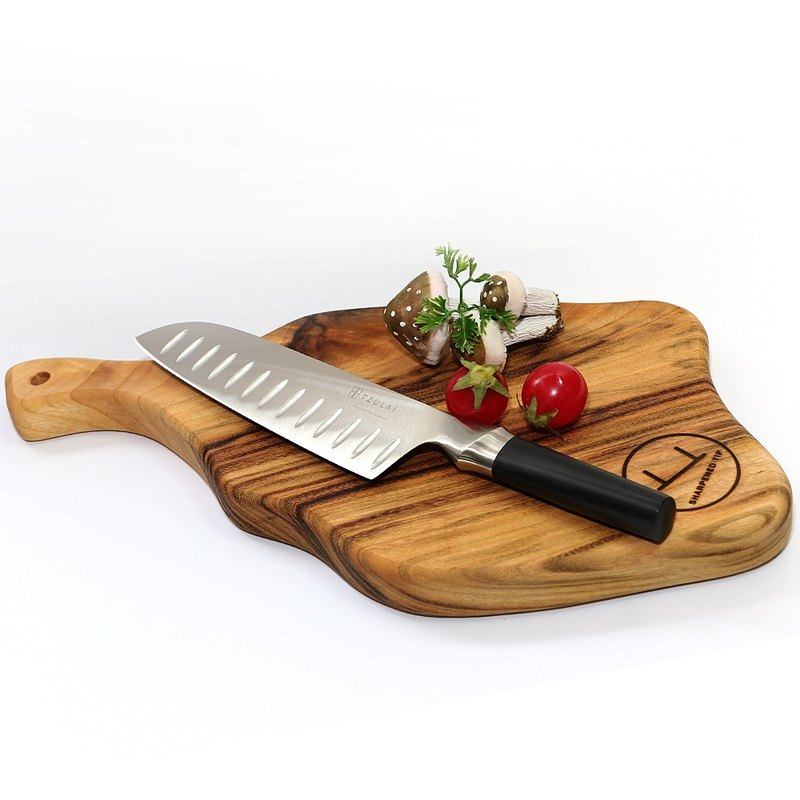 Australia artisans natural antibacterial ham meal plate type camphor wood chopping board Knife +