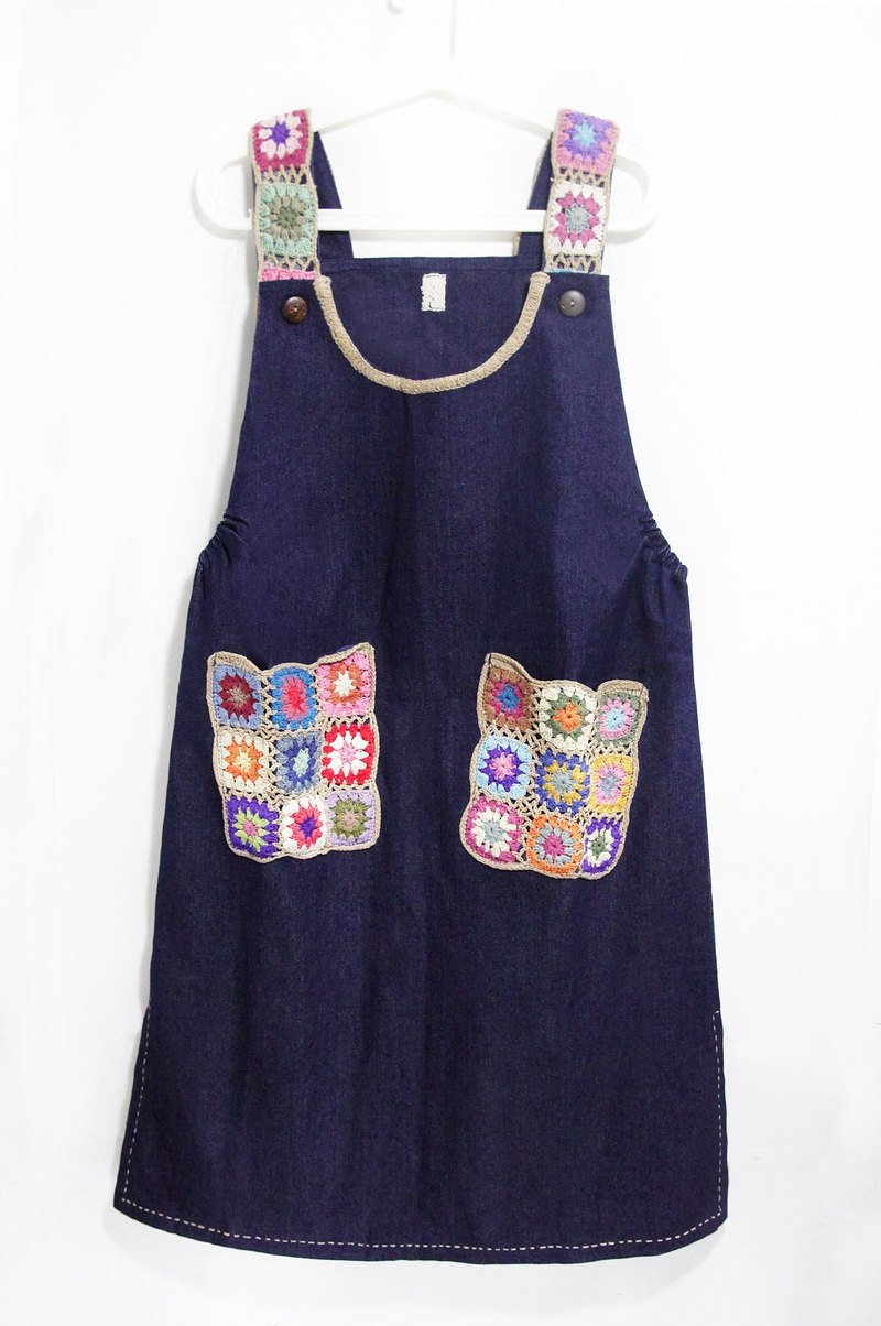 Christmas limited edition hand-knitted woven pocket denim dress / national wind dress / Flowers dress / ethnic dress / Knitted Dress - National Wind of colorful forest in the world (tannin / denim)