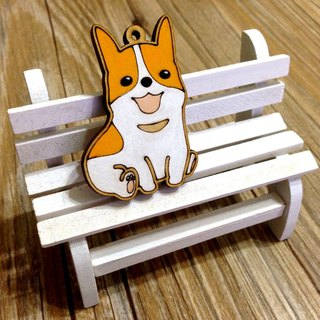 I love the zoo - Corgi dog wooden key ring Charm