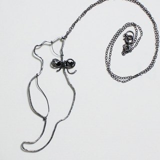 Black Cat Oxidized Sterling Silver Necklace with Crystal beads