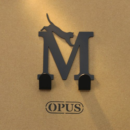 (OPUS Eastern Qi metalworking) when the cat meets the letter M - hook (black) / wall hangings / furniture racks / living storage / hanger / modeling hook / trace / HO-ca10-M
