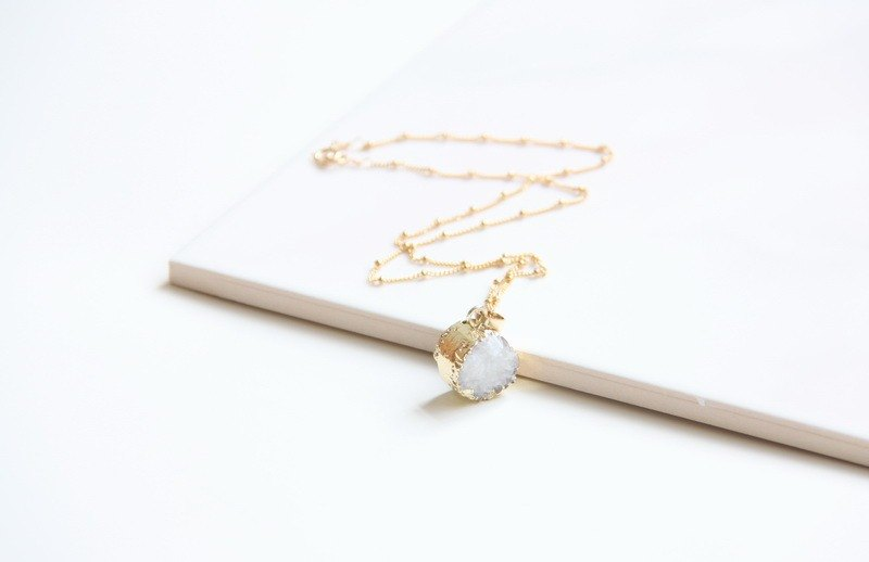 Quartz crystal necklace / White Druzy pendant / 14KGF chain