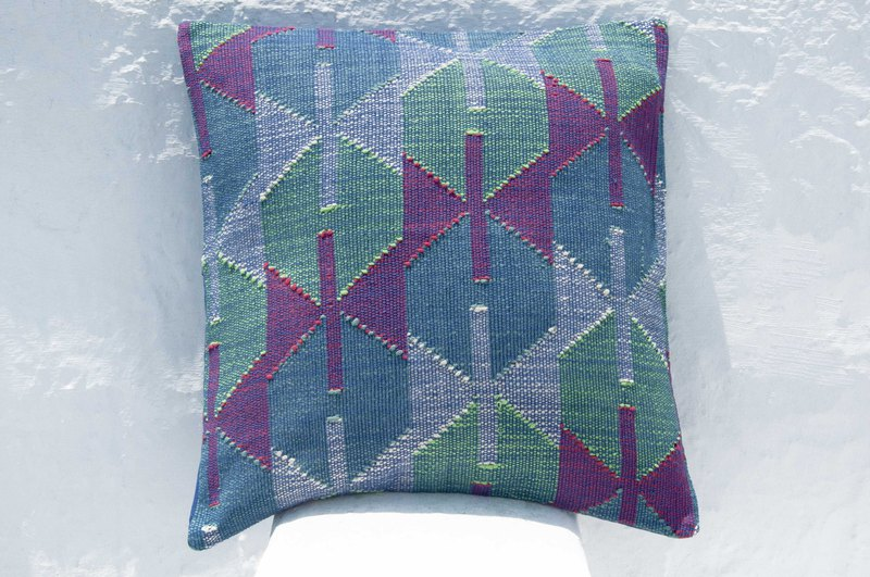 Hand-woven woven pillowcase cotton pillowcase woven pillowcase handmade pillowcase - blue Morocco
