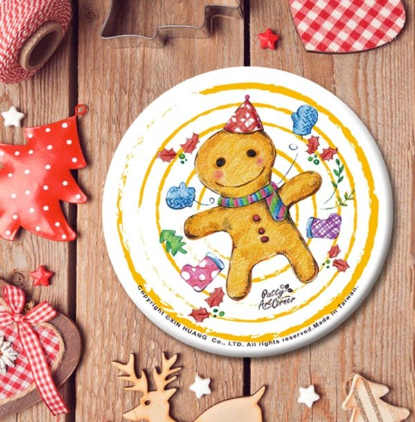 Painted Absorbent Ceramic Coasters – Christmas gingerbread man