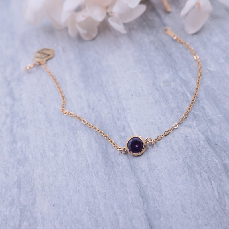 14KGF | Advanced Purple Zircon Classic Simple Bracelet