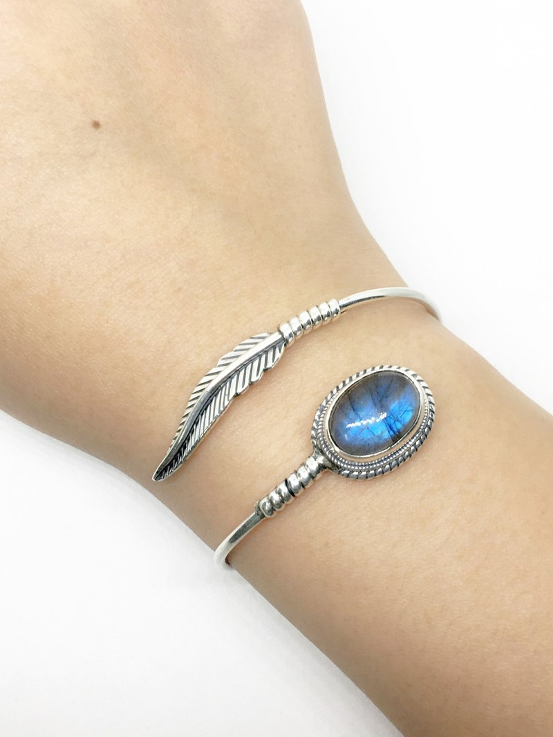 Torsion stone feather style 925 sterling silver bracelet Nepal handmade mosaic production