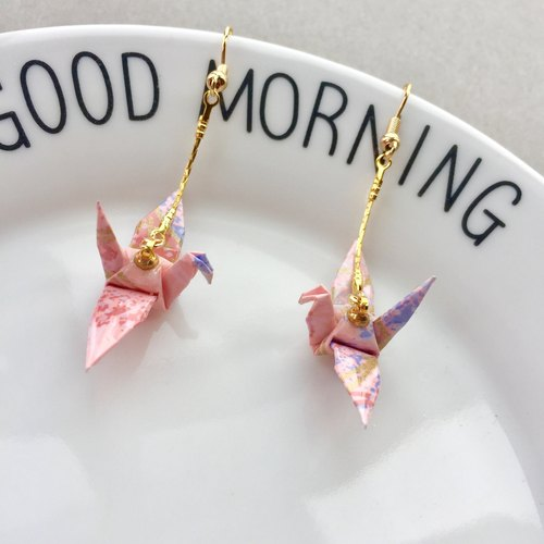 cute Waterproof Japanese paper crane earrings Origami folding birthday Valentine