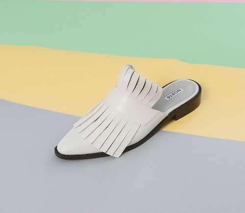 Personal flake fringed fuselage leather shoes slippers white