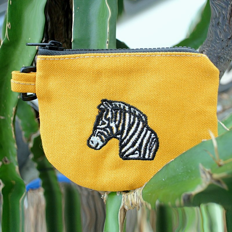Embroidered Zebra canvas purse - mustard yellow