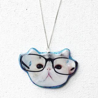 Cat in Glasses Jojo Stardust 925 Silver Handmade Necklace