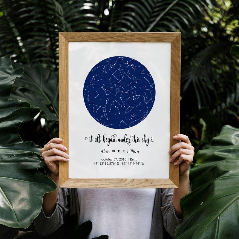客製化星空圖數位電子檔, 結婚周年紀念日禮物, 最特別的生日禮物