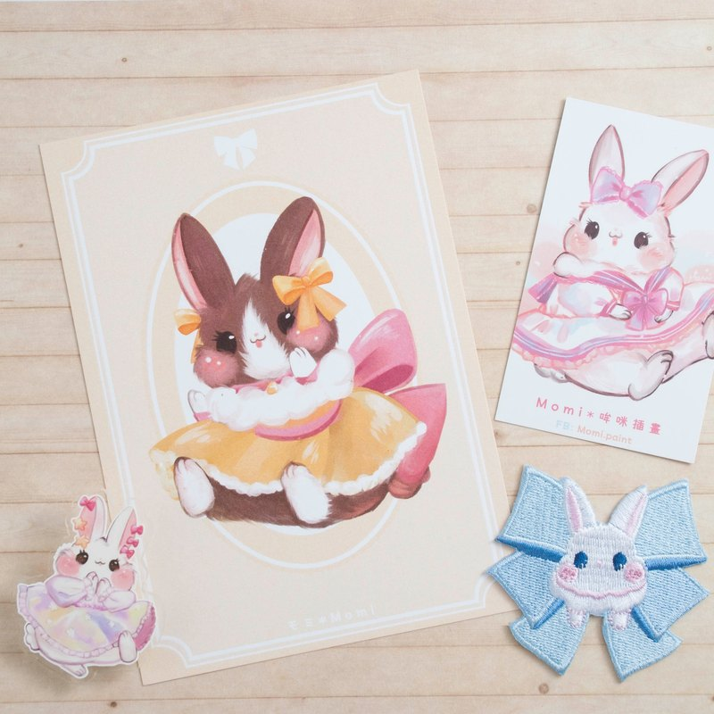 Yellow dress caramel rabbit * Dress Bunny Postcard