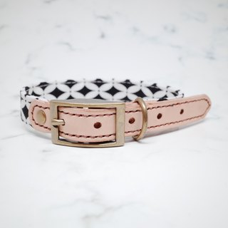 Dog collars, M size, Black & White grid_DCK090453