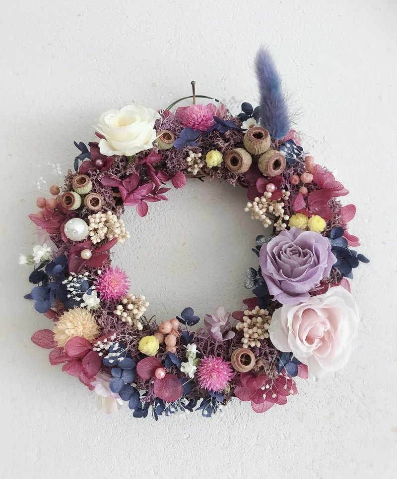 Non-withered flower wreath / purple romantic / spring wreath
