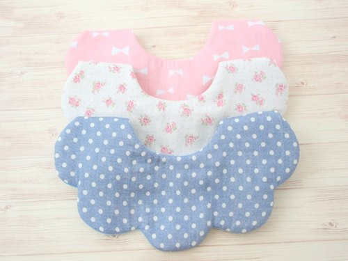 BABY BIB, Set of 3, Scalloped Bib,Reversible,Formal Bib,Unique Design,