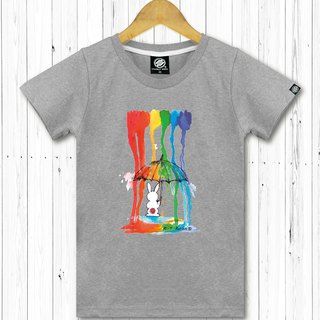 STATELYWORK Rainbow Rain Rabbit - Women's Gray T
