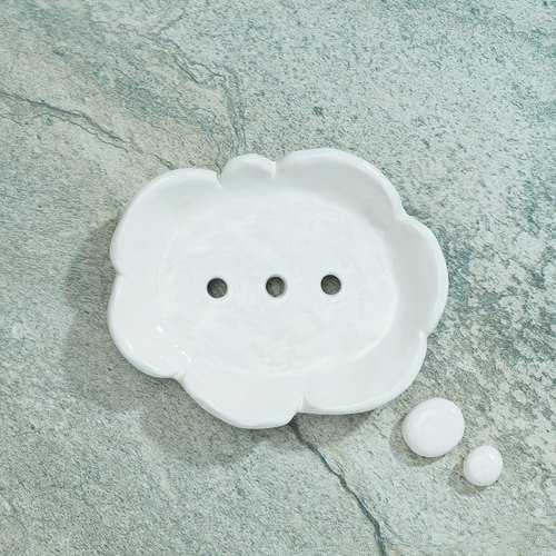 "Hand made pottery - ""Imagine cloud"" Soap Dish"