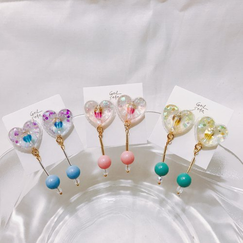 Love lollipop hanging earrings ear pin