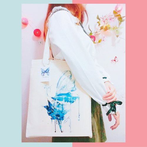 - Alice Hobbey - * Comes with any optional postcard blue rose butterfly hand-painted watercolor long canvas bag