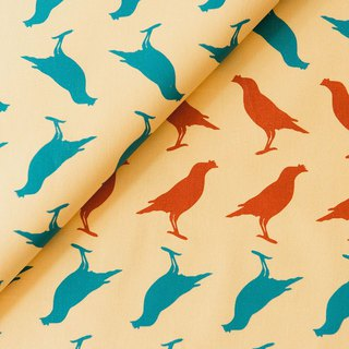 Hand-Printed Cotton Canvas - 250g/y/Crested Myna No.5/Sunset Yellow