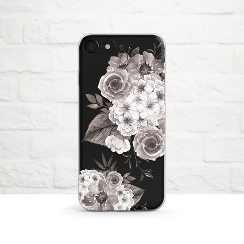 Floral, Clear Soft Case, iphone X, iphone 8, iPhone 7, iPhone 7 plus, iPhone 6, iPhone SE, phone case, black and white, Samsung
