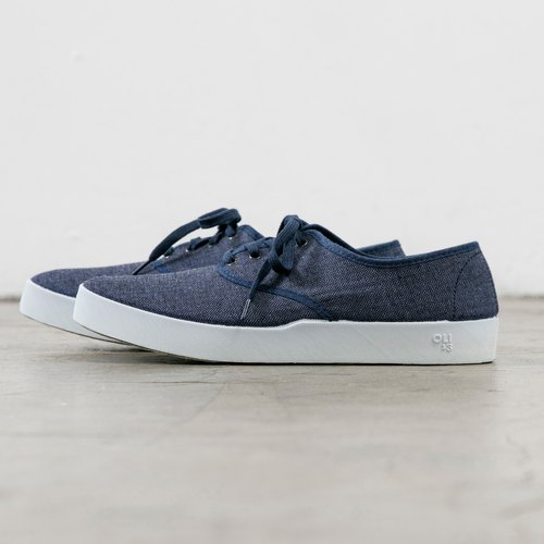 OLI13 Oxford OXFORD- herringbone pattern blue canvas shoes │ men and women shoes