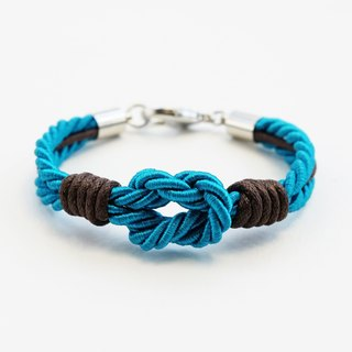 Teal blue tie the knot bracelet with dark brown waxed cotton cord