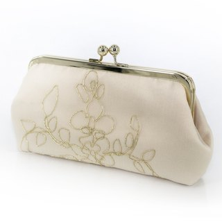 Champagne Bridal Clutch with gold thread 8-inches | Bridesmaid Gift |Bridal Clutch