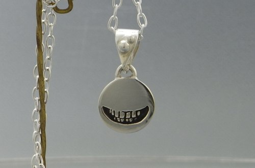 smile stamp pendant necklace flat plate silver ( smile stamp_P2 ) s_m-P.12