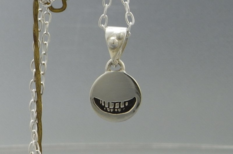 smile stamp pendant necklace flat plate silver (smile stamp_P 2) s_m - P. 12